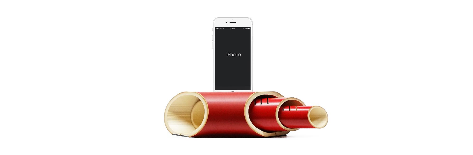 竹之助《i3booo》電源不要のiphone用竹スピーカー