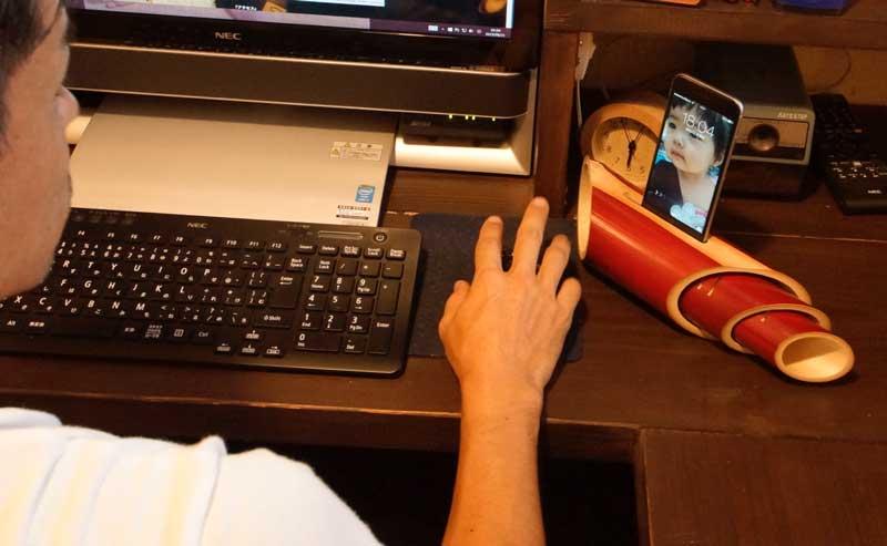 竹スピーカー【iphone】使用イメージ
