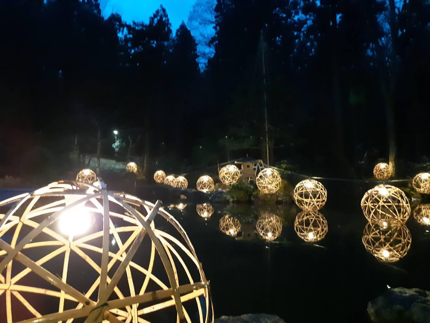 バンブーボールを使用した灯りイベント